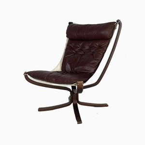 Dark Brown Leather Falcon Chair by Sigurd Ressell, 1960s