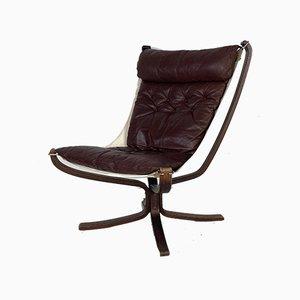 Dunkelbrauner Leder Falcon Chair von Sigurd Ressell, 1960er