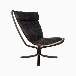 Chestnut Brown Leather Falcon Chair by Sigurd Ressell, 1960s