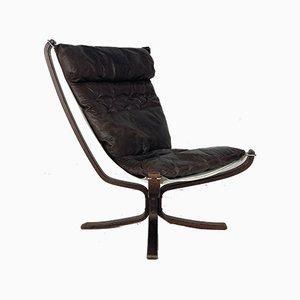 Kastanienbrauner Leder Falcon Chair von Sigurd Ressell, 1960er
