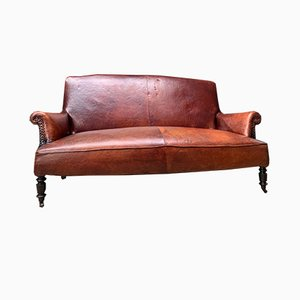 French Chestnut Brown Leather Sofa, 1800s
