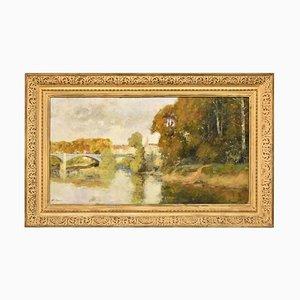 Peinture de Paysage, Rivière et Pont Neuf, Huile sur Toile, 20ème Siècle