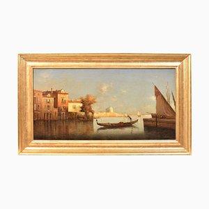 Pintura de paisaje de Venecia, pintura al óleo Original, siglo XIX