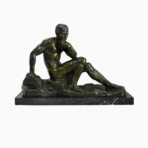 Green Bronze Patina the Thinker by A. Outline, Early 20th Century