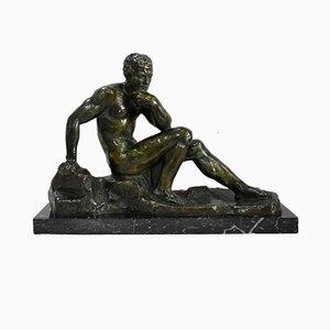 Patine the Thinker en Bronze Vert par A. Outline, Début 20ème Siècle