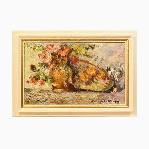 Peinture Rose Florale Antique, Huile sur Bois, Début 20ème Siècle