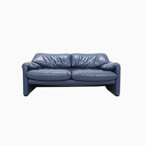 Indigo Blue Leather Maralunga Sofa by Vico Magistretti for Cassina, 1990s