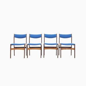 Blaue Palisander Esszimmerstühle von Erik Buch für Odense Maskinsnedkeri / OD Møbler, 1960er, 4er Set