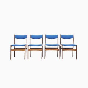 Blue Rosewood Dining Chairs by Erik Buch for Odense Maskinsnedkeri / O.D. Møbler, 1960s, Set of 4