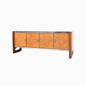 Mid-Century Italian Walnut Root & Brass Sideboard from La Permanente Del Mobile Cantù, 1960s