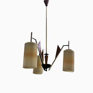 Glass, Teak & Brass Ceiling Lamp, 1960s
