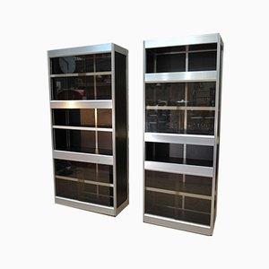 Aluminum, Melamine Wood Wall Units with Glass Doors, 1970s, Set of 2