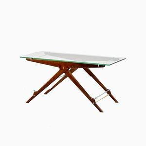 Table Console Mid-Century en Bois, Laiton et Verre par Cesare Lacca, Italie, 1960s