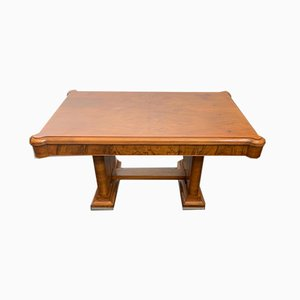 Walnut Dining Table with Walnut Feather Steel Base, 1940s