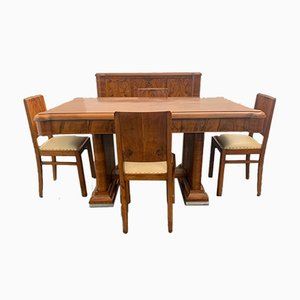 Walnut & Briar Sideboard, Mirror, Table & Chairs Set, 1940s, Set of 7