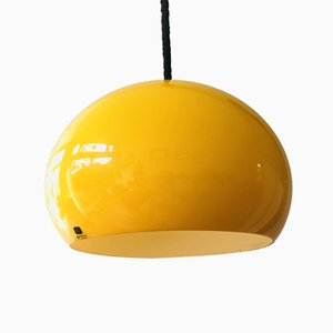Italian Yellow Plexiglass 3025 Ceiling Lamp from Guzzini, 1970s