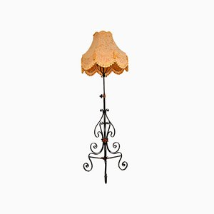 Antique Wrought Iron & Copper Rise & Fall Floor Lamp, 1920s