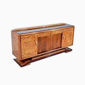 Italian Art Deco Walnut & Brass Sideboard, 1950s