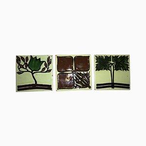 Antique Art Nouveau Tiles by Max Laeuger, Set of 3