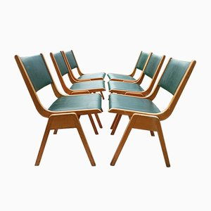 Mid-Century Leather Dining Chairs, Set of 6