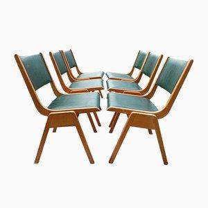 Mid-Century Leder Esszimmerstühle, 6er Set