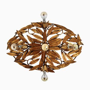 Italian Florentine Ceiling or Floor Lamp with Gilt Leaves, 1950s
