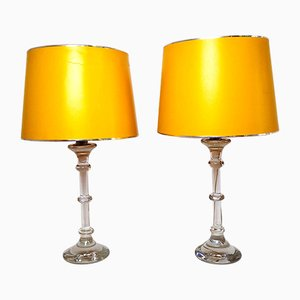 Table Lamps with Glass Base, 1960s, Set of 2