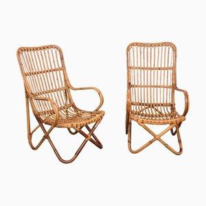 Italienische Mid-Century Sessel aus Korbgeflecht & Bambus von Tito Agnoli, 1960er, 2er Set