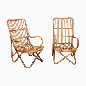 Mid-Century Italian Wicker & Bamboo Lounge Chairs by Tito Agnoli, 1960s, Set of 2