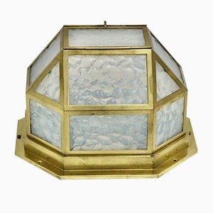 Antike Österreichische Messing & Glas Deckenlampe von Josef Hoffmann, 1903