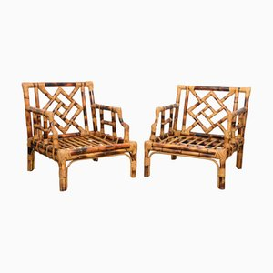 Mid-Century Italian Modern Bamboo Lounge Chairs by Vivai del Sud, 1970s, Set of 2