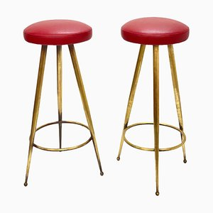 Mid-Century Italian Tripod Brass Bar Stools, 1950s, Set of 2