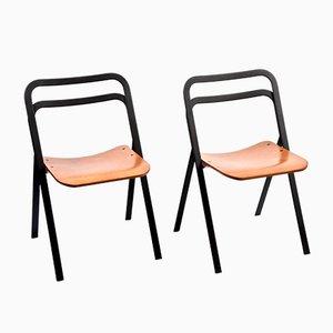 Klappbare italienische Esszimmerstühle von Giorgio Cattelan für Cidue, 1970er, 2er Set