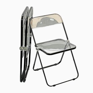 Mid-Century Lucite & Chrome Pila Folding Chairs by Giancarlo Piretti for Castelli / Anonima Castelli, Set of 3