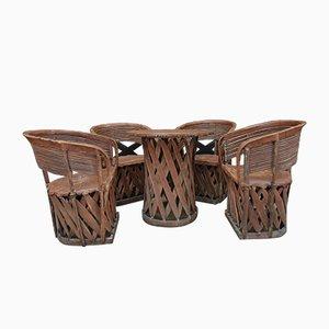 Tisch & Stühle aus Holz & Leder im Primitiven Kunststil, 1960er, 5er Set