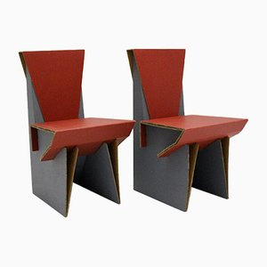 Vintage Red & Blue Cardboard Side Chairs, 1990s, Set of 2