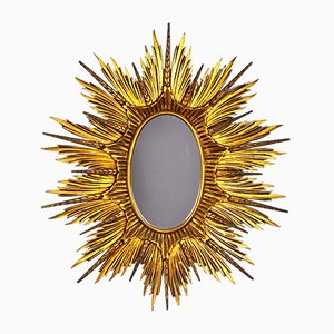 Large Golden Wood Sun Mirror, 1920s