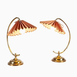 Brass Table Lamps with Fabric Shades, 1960s, Set of 2