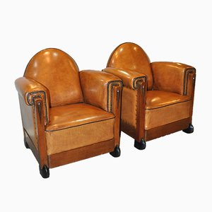 Dutch Art Deco Sheep Leather Armchairs, 1920s, Set of 2