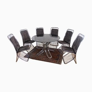 Italian Gastone Rinaldi Style Glass Dining Table & Chairs, 1970s, Set of 7