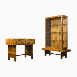 Art Deco Walnut Desk & Display Cabinet, 1930s, Set of 2