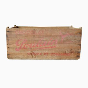 Wooden Crate from Chocolat Poulain, 1940s