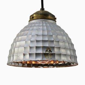 Industrielle Mid-Century Hängelampe aus Silberglas & Messing von Wonder Licht