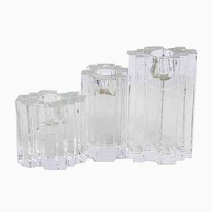 Mid-Century Brutalist Glass Candleholders, Set of 3