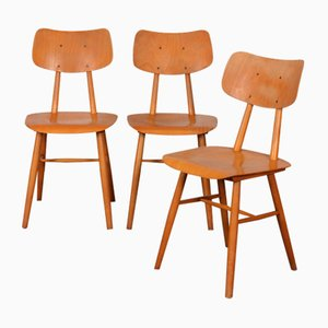 Wooden Dining Chairs from TON, 1960s, Set of 3
