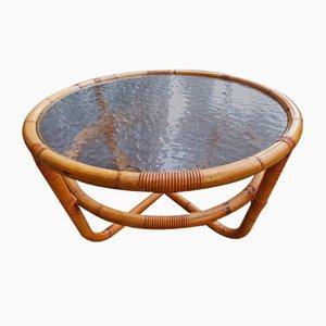 Tavolino da caffè circolare in bambù e vetro smerigliato, anni '60