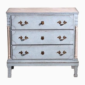 Gustavian Chest with Carved Columns & Original Lock and Key, Early 19th Century