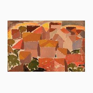Olle Rhönnstad 1931-1988, Sweden, Oil on Canvas, Modernist City View, 1960s