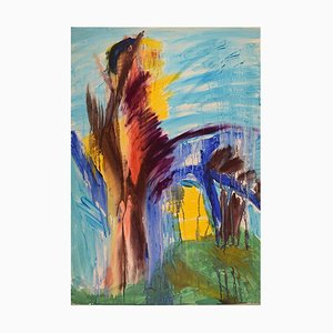 Ivy Lysdal, Gouache on Cardboard, Abstract Modernist Painting, Late 20th Century
