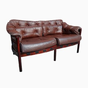 Vintage Danish Rosewood & Brown Leather Sofa by Arne Norell, 1960s
